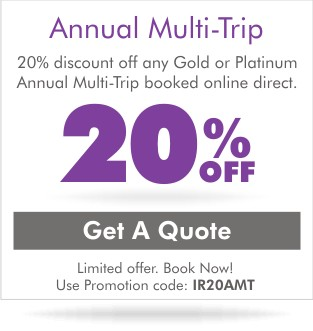 save 20% on annual multi trip travel insurance
